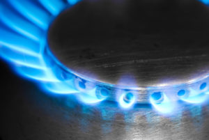 Naked flame on a gas hob